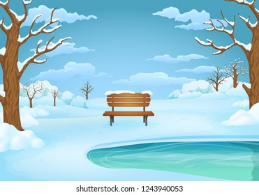 Winter day vector illustration. Wooden bench by the frozen lake with snow covered bushes and bare trees. Snowy meadows and blue sky with clouds on the background.