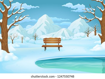 Winter day vector illustration. Wooden bench by the frozen lake with snow covered bushes and bare trees. Snowy mountains and blue sky with clouds in the background.