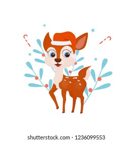 Winter deer. Christmas smiling cute deer with candy sticks, stars and christmas plants on background. New Year and Christmas greeting illustretion with cute animal. Vector cartoon illustration.