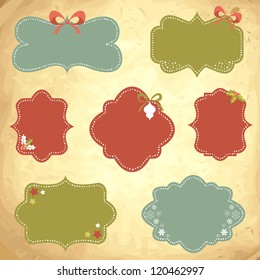 Winter design Christmas sale stickers and tags for text and discounts in retro vintage style