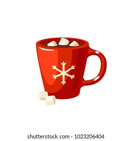 Winter dessert beverage. Cup of hot chocolate with marshmallows. Vector illustration cartoon flat icon isolated on white.