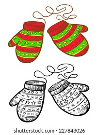 Winter doodle and color vector mitten