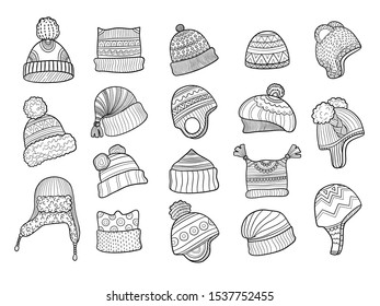 Unique Winter warm Wool and cotton hat Pictograph cap for girls Art line animal Cap