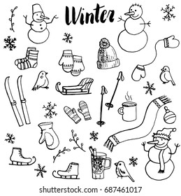 winter doodle set, vector isolated hand drawn elements