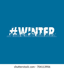#winter doodle vector illustration with the word hash tag winter, umbrellas, swirls, snowflakes, gloves, clouds and cups of warm coffee on blue background