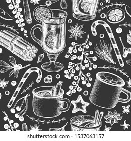 Winter drinks vector seamless pattern. Hand drawn engraved style mulled wine, hot chocolate, spices illustrations on chalk board. Vintage Christmas background.