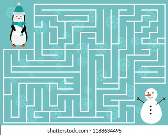 Winter educational maze game for kids. Help the penguin find the right way to the snowman. Christmas and New Year labyrinth. Flat design illustration.
