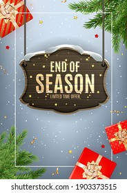 Winter End of Season Sale Background Design. Template  for advertising, web, social media and fashion ads.  Poster, flyer, greeting card, header for website  Vector Illustration