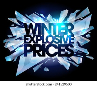 Winter explosive prices, sale design with pieces of ice.