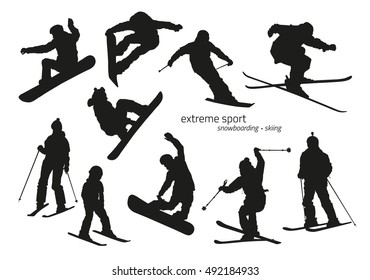 Winter extreme sport silhouette - snowboarding, skiing. Vector illustration
