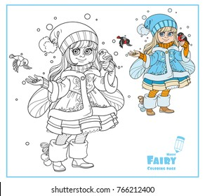 Winter fairy feeds the bullfinches color and outlined isolated on a white background