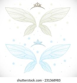 Winter fairy wings and tiara bundled isolated on a white background with snowflakes