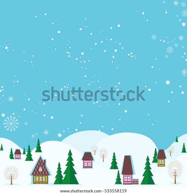 Winter fairyland idyllic landscape. Colorful houses and snowy hills near frozen lake. Vector illustration.