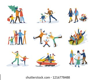 Winter family activities, children and parents vector. Mother and father carrying pine evergreen tree skiing and creating snowman. Skating sledge ride