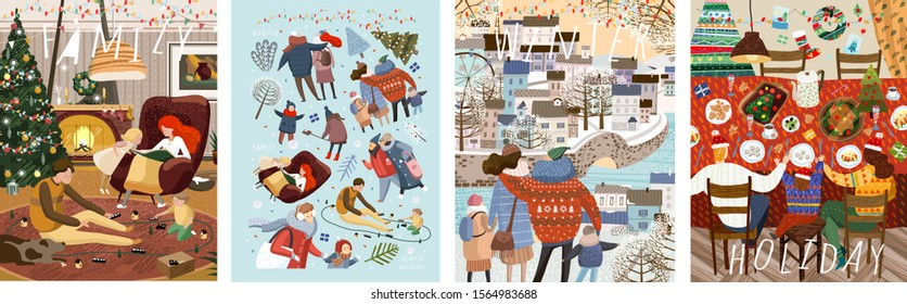 Winter family holidays. Cute vector illustration of a family at a table for dinner or lunch in the New Year and Christmas, for a walk in the city and at home in a cozy living room. Drawings for card