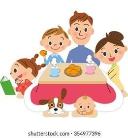 Winter family pleasure of home life