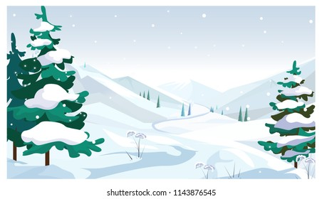 Winter fields with falling snow vector illustration. Pine trees with snow on twigs. Season concept