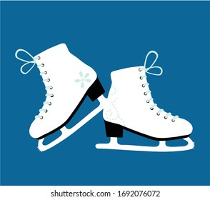 winter figure skates on a blue background