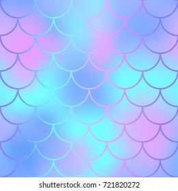 Winter fish skin with scale pattern. Mermaid tail vector background. Mermaid  seamless pattern. Mermaid fishscale seamless background for nursery design. Seamless color mesh with fish scale ornament