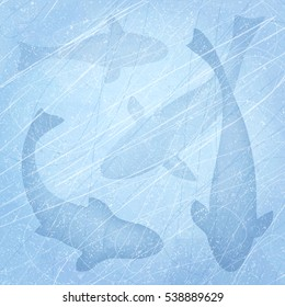 Winter fishing. Ice-fishing. Winter background with fish. Fish set. Texture of ice surface. Overhead view. Vector illustration abstract background.