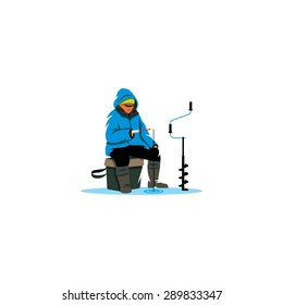Winter fishing sign. Ice fisherman on lake. Vector Illustration. Branding Identity Corporate logo design template Isolated on a white background