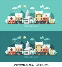 Winter - flat design urban landscape illustration