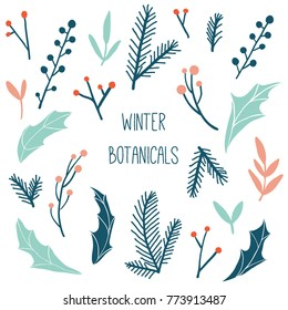 Winter flora: branches, leaves and berries for Merry Christmas wreath. Hand drawn winter holiday illustration with botanical elements. Template for invitation, postcard, greeting card