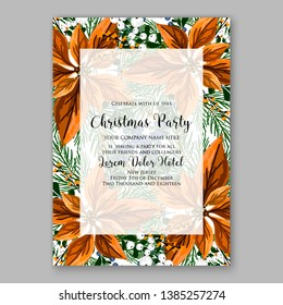 Winter floral Christmas Party Invitation with floral wreath of poinsettia flower fir branch berry