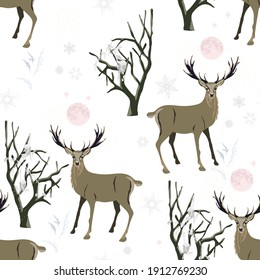 Winter floral forest, deer, snow mountains vector seamless pattern. Square design for fabric, wallpaper, wrapping paper, invitation card. White and black color background.