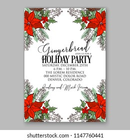 Winter floral holiday red poinsettia fir cone pine branch Merry Christmas Party Invitation printable template card