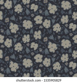 Winter Floral Knitted Intarsia Texture Background. Winter Nordic Style Seamless Pattern. Dark Moody Indigo Blue Beige Knit Stitch Effect Textile.  Homespun All Over Print. Vector Eps 10