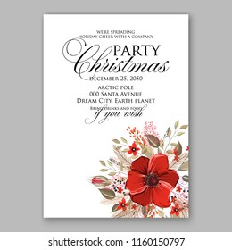 Winter Floral vector background for christmas wedding bridal shower baby shower christening invitation greeting card Poinsettia anemone flower fir evergreen branch wreath
