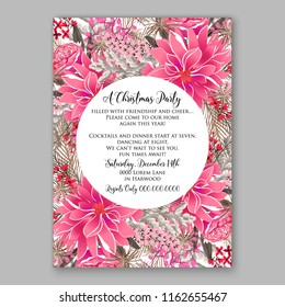 Winter floral vector background for christmas party invitation wedding invitation bridal shower baby shower christening baptism birthday card anniversary poinsettia for winter holiday wreath