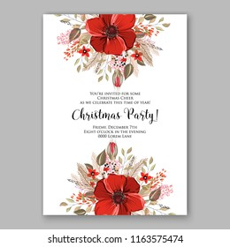 Winter floral vector background for Christmas party invitation wedding invitation card baby shower bridal shower Anemone Red Poppy and fir winter wreath