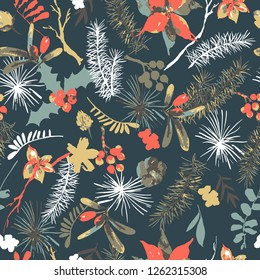 Winter floral vector seamless pattern with branches of holly, flowers and berries. Natural hand painted illustration on white background, New Year decoration
