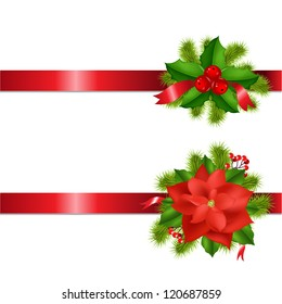 Winter Flower And Berry With Ribbons Isolated On White Background With Gradient Mesh, Vector Illustration
