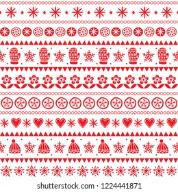 Winter folk art vector seamless pattern, Christmas red ornament hand drawn style, retro background on white.  Cute Scandinavian style retro decoration with winter hats and gloves, stars and flowers -