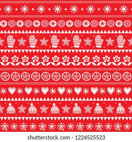 Winter folk art vector seamless pattern, Christmas white ornament hand drawn style, retro background on red.  Cute Scandinavian style retro decoration with winter hats and gloves, stars and flowers -