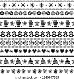 Winter folk art vector seamless pattern, Christmas black and white ornament hand drawn style, retro background. Cute Scandinavian style retro monochrome decoration with winter hats and gloves, stars