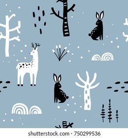Winter forest blue ,black and white seamless pattern with deer, hare, plants and snow trees. Cute hand drawn cartoon background for textile, covers, package, wrapping paper