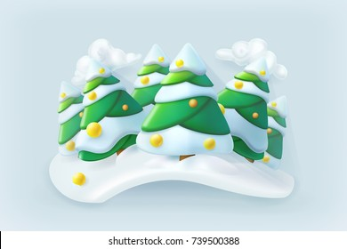 Winter forest. Christmas vector icon