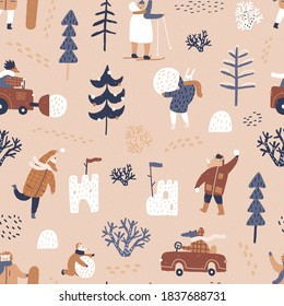 Winter forest. Cute animals in warm clothes. Winter games outside. Beige background. Playing snowballs, snow fortress, making a snowman and snow removal. - Shutterstock ID 1837688731