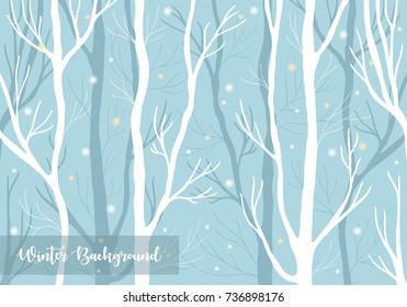 Winter forest during snowfall background. Vector illustration