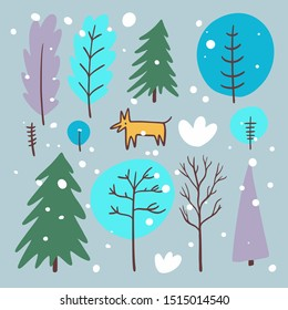 Winter forest and fox. The Scandinavian style. Vector illustration. Isolated on grey background