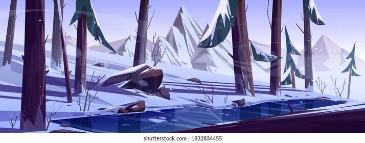 Forêt d'hiver avec étang gelé. Arrière-plan nature paysage avec conifères, arbres et montagnes recouverts de neige, parc sauvage ou jardin avec lac glacé, rochers, pins et buissons, illustration vectorielle dessinée à la main