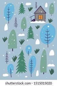 Winter forest and home. The Scandinavian style. Vector illustration. Isolated on grey background