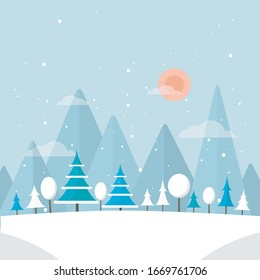 Winter forest illustration. Christmas snow nature background. Snowfall and mountains on background.