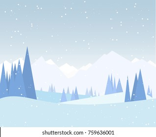 Winter forest illustration. Christmas snow nature background. Snowfall and mountains on background. Sky with snow. Forest of fir-trees. Calm, winter scene.