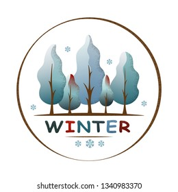 Winter forest landscape in circle. Snowy trees and snowflakes. Environment and ecology concept. For social media, web pages, banner, poster, education materials. Semi flat isolated vector illustration