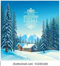 Winter forest landscape and the houses, possible shelter for tourists, tourist base.